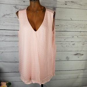 Bobeau Sleeveless Pink Blouse Swiss Dots 2x